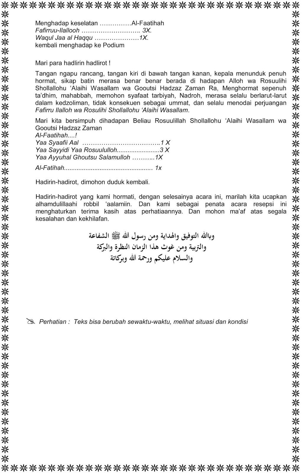 Teks Protokol Acara Wahidiyah