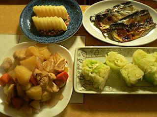 サバ焼き 煮物 キャベツおひたし 沢庵