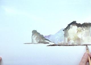 手前の崖を描く
