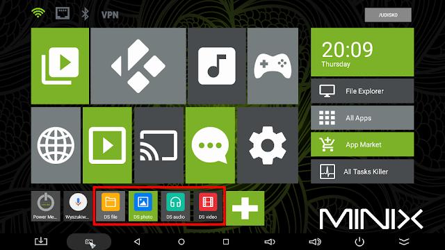 Aplikacje Synology zainstalowane na Android boxie Minix Neo U1