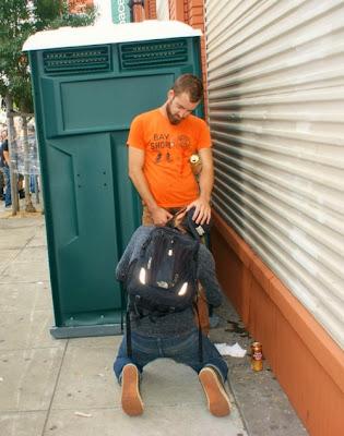 gay public sex, cocksucking on the sidewalk, two men suck dick, street, outdoors, exhib, Robot Jack