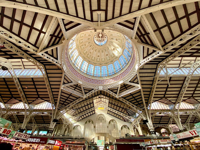 Interior & ceiling of the Central Market, Valencia, Spain