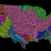 Rivers basins of the United States in rainbow colours