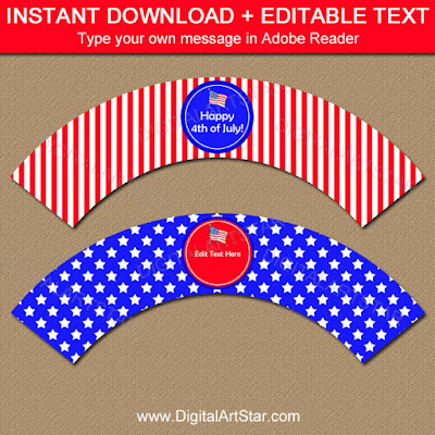 printable red white and blue cupcake wrappers with stars and stripes for the 4th of July