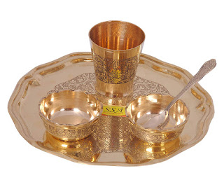 SHIV SHAKTI ARTS Brass Thali Plate Dinner Set (Yellow, 8-inch) 5 Pcs Set - Online Trade DD