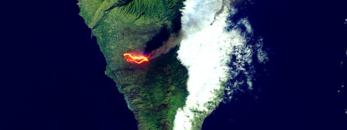 lava do vulcão cumbre vieja do espaço - novas imagens