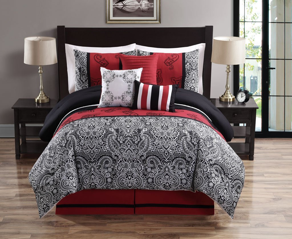 Red Black Bed Set