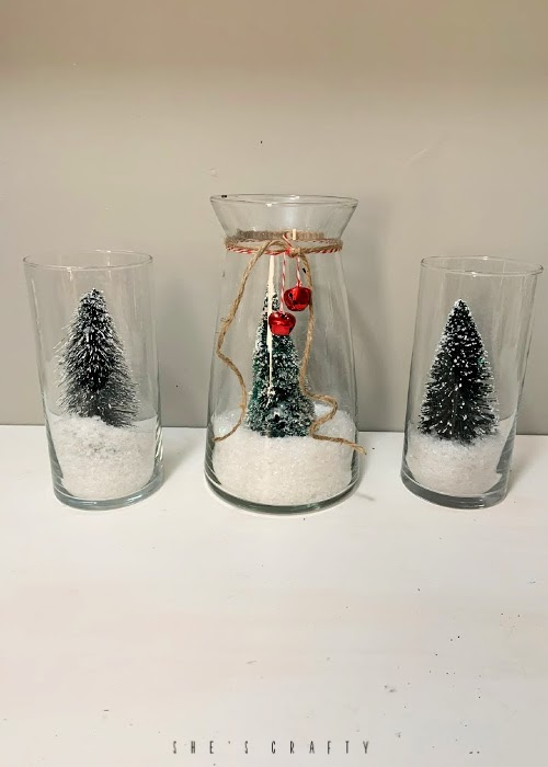 How to make DIY snow globes with bottle brush trees