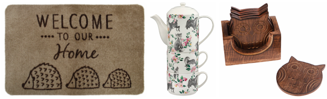Hedgehog doormat, forest creatures cup and a set of hedgehog coasters