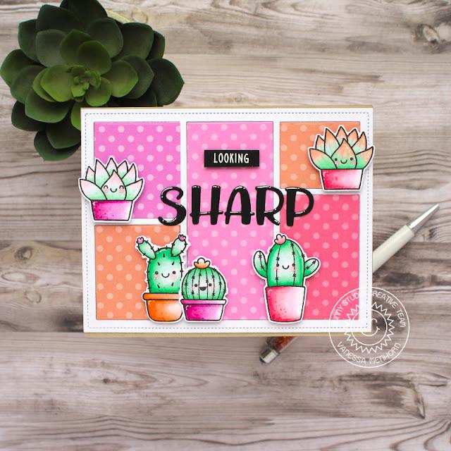 Sunny Studio Stamps: Comic Strip Everyday Dies Looking Sharp Chloe Alphabet Dies Card by Vanessa Menhorn