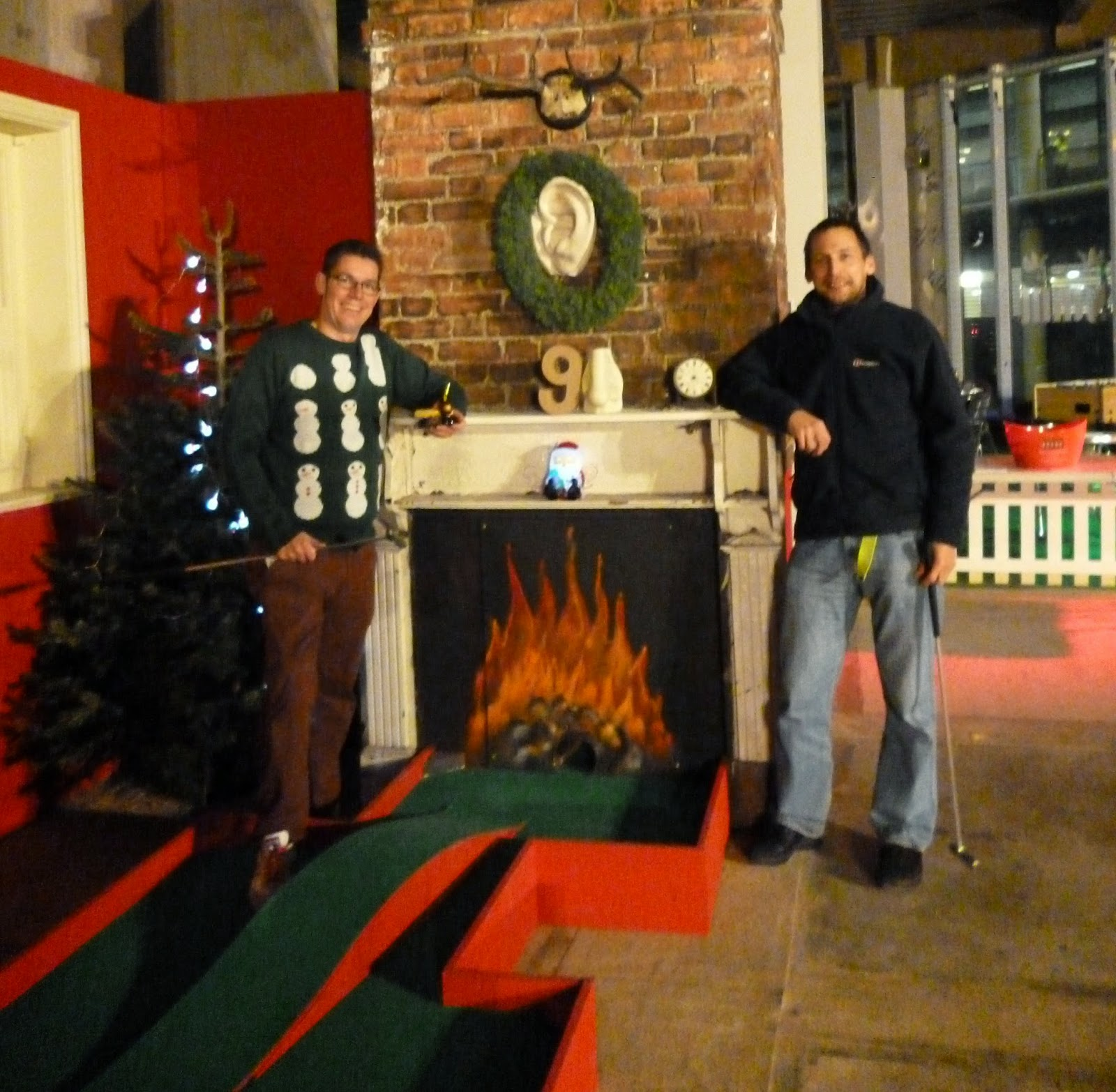 'Squire' Richard Gottfried and John 'Thighs' Moore at the Christmas-themed Minigolf 'Chrizy Golf' course in Manchester (2012)