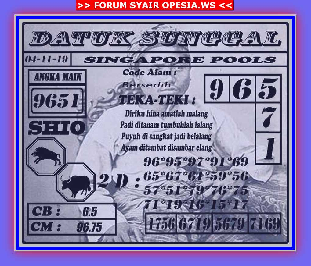 Kode syair Singapore Senin 4 November 2019 68