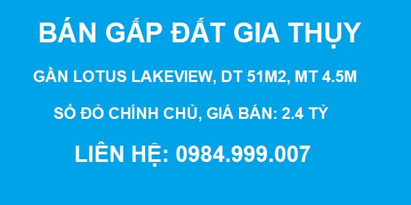 CẦN BÁN GẤP đất Ngõ 564 Nguyễn Vằn Cừ, Gia Thụy, DT 51m2, MT 4.5m, 2.4 tỷ, 2020