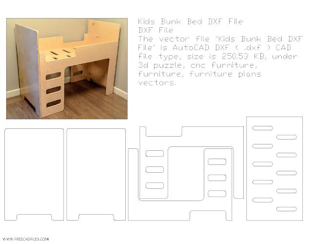 Kids Bunk Bed DXF File
