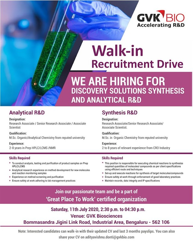 GVK Biosciences Walk in Recruitment Drive- Discovery Solutions Synthesis & Analytical R&D On 11th July 2020 @ Bangalore