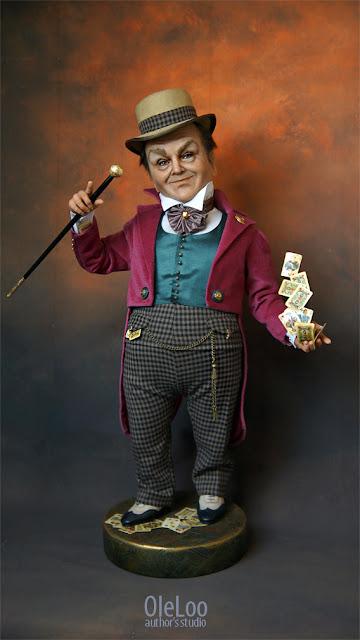 doll artdoll Красавчик Джек! 58 см от кончиков ботинок до шляпы Шляпа снимается, волосы-брови вживленные, ботинки кожаные, сердце горячее, голова холодная. Картежник, шулер, в рукавах по 4 туза )) На досуге подрабатывает в цирке под всевдонимом Великий Джек  Будет рад знакомству! портретная кукла по фото на заказ подарок на юбилей