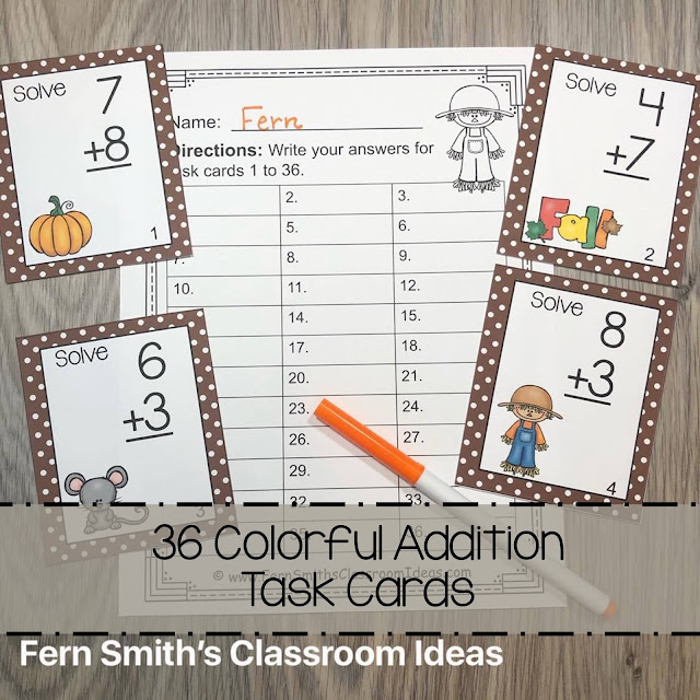 Fall Addition and Subtraction Task Cards Bundle #FernSmithsClassroomIdeas