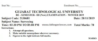 Download GTU BE Exam Papers of SURVEYING WINTER 2019 | Surveying GTU Exam Papers 2130601 PDF 2019 | 2130601 GTU Paper PDF Download BE Civil