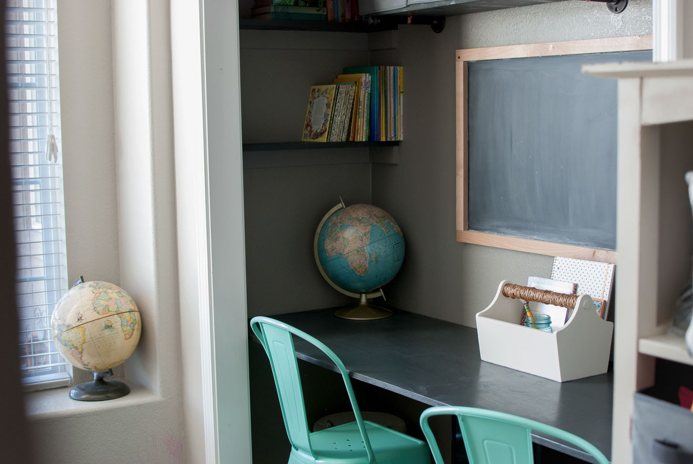 DIY Gray Closet Desk with Built In Shelves Aqua Farmhouse Style Chairs Chalkboard and Vintage Globes