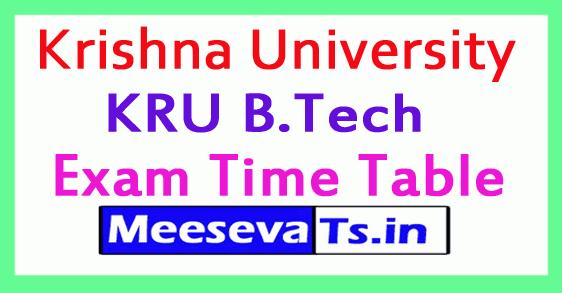 Krishna University KRU B.Tech Exam Time Table