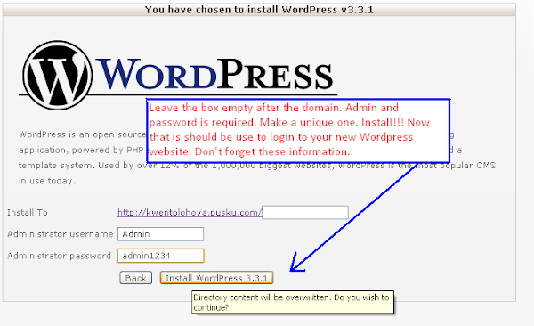 Image of Final Step for Wordpress Installation