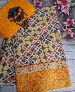 Kain Batik dan Embos 381 motif Kawung warna Kuning