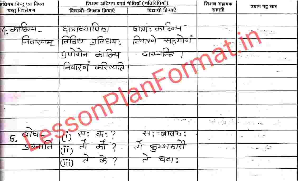 B.ed Lesson Plan for Sanskrit