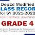 GRADE 4 MODIFIED E-CLASS RECORDS (SY 2021-2022) Free Download