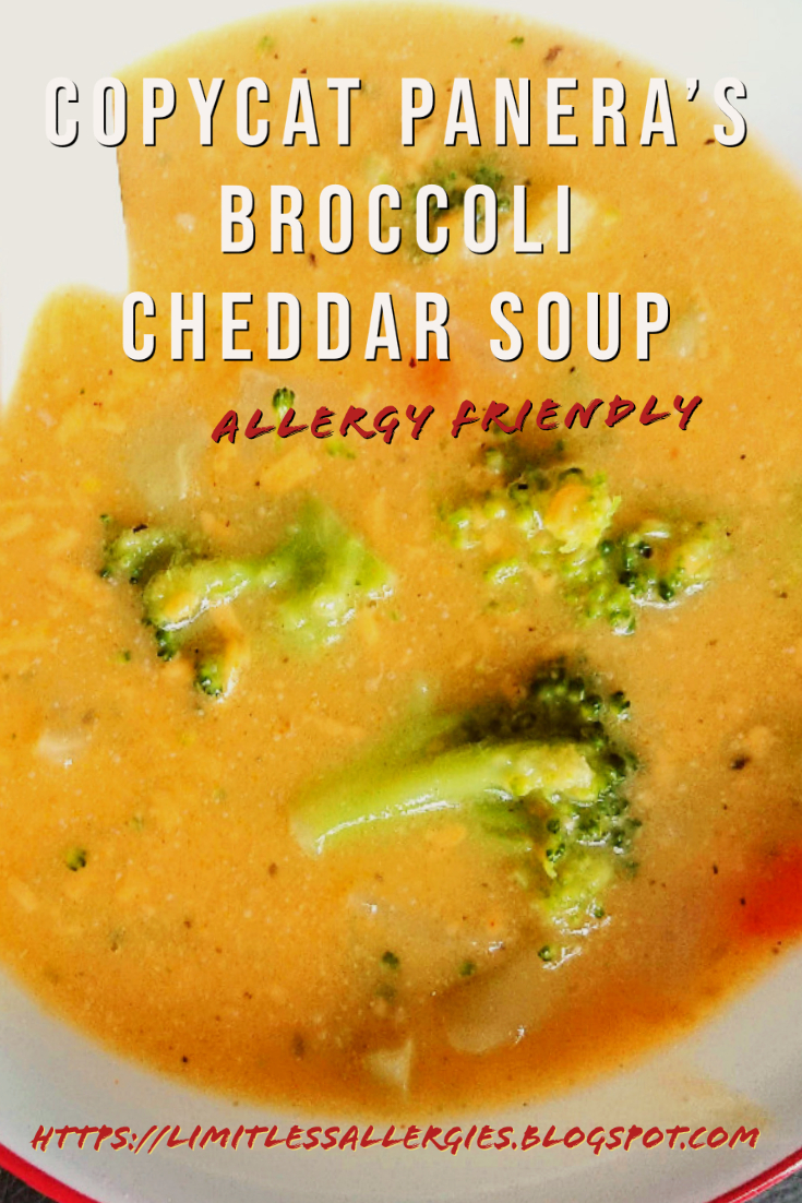pinning image for Allergy Friendly Panera Broccoli Cheddar Soup