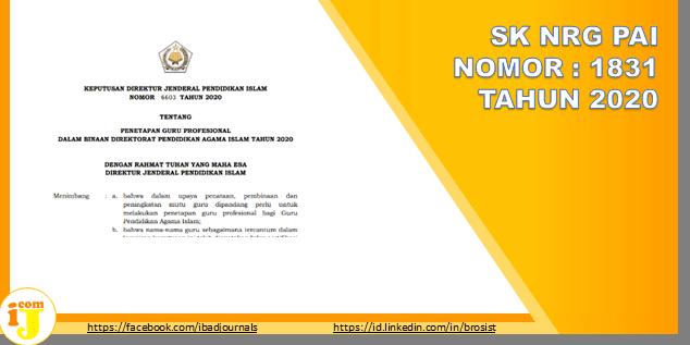 SK NRG PAI TAHUN 2020 Data Based SK Dirjen NRG Guru & Pengawas PAI