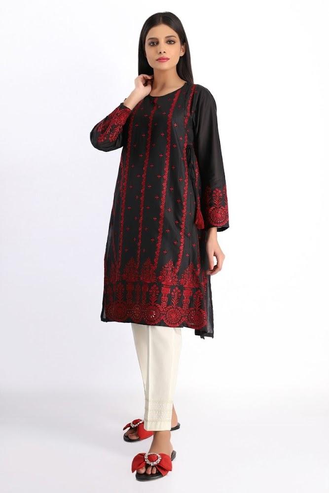 Khaadi red & black printed kurta