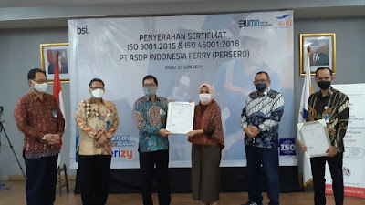 Komitmen ASDP Berikan Layanan Keselamatan dan Bermutu Prima Sesuai ISO 9001:2015 dan ISO 45001:2018