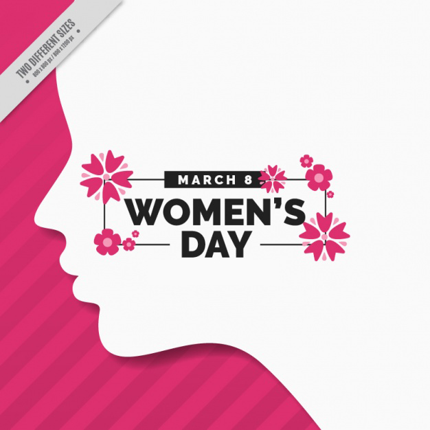 Woman day background with silhouette Free Vector
