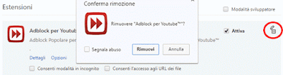 eliminare estensione chrome
