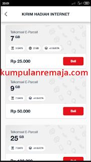 harga dan paket E-Parcel telkomsel