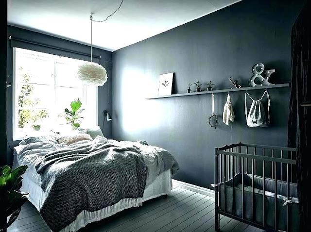ห้องนอนสีเทาเข้ม