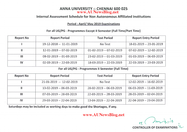 Anna University Academic & Internal Assessment Schedule 2019 for Even Semester April May 2019 Exams