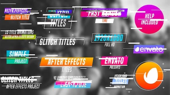Colourful Glitch Titles : AE Project