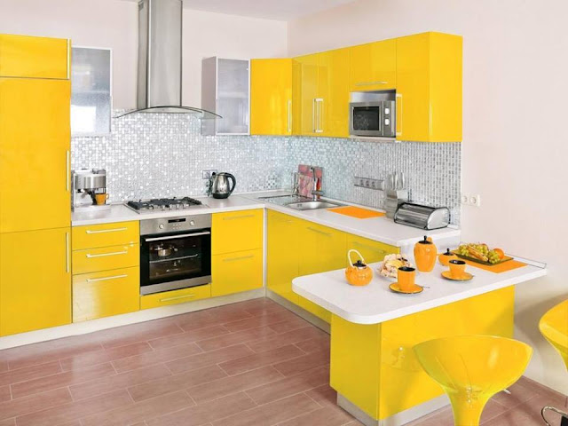 kitchen theme with yellow kitchen design with white wall paint on modern kitchen