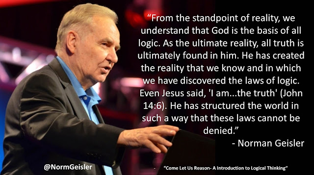 "Quote from book ""Come Let Us Reason"" by Norman Geisler: ""From the standpoint of reality, we understand that God is the basis of all logic. As the ultimate reality, all truth is ultimately found in him. He has created the reality that we know and in which we have discovered the laws of logic. Even Jesus said, 'I am...the truth' (John 14:6). He has structured the world in such a way that these laws cannot be denied; however, we did not know God first and then learn logic from him. He exists as the basis of all logic (in reality), but we discovered logic first and came to know God through it. This is true even if we came to know God through his revelation, because we understand the revelation through logic. In the order of being. God is first; but in the order of knowing, logic leads us to all knowledge of God. God is the basis of all logic (in the order of being), but logic is the basis of all knowledge of God (in the order of knowing)."" #Logic #Reason #Epistemology #Philosophy"