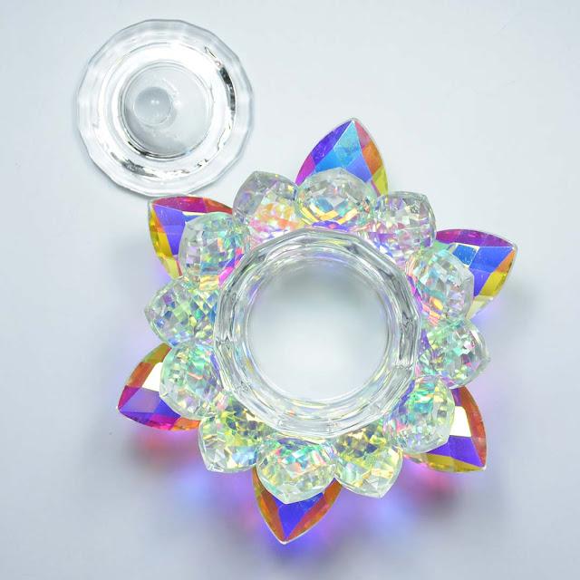 crystal glass lotus dappen dish