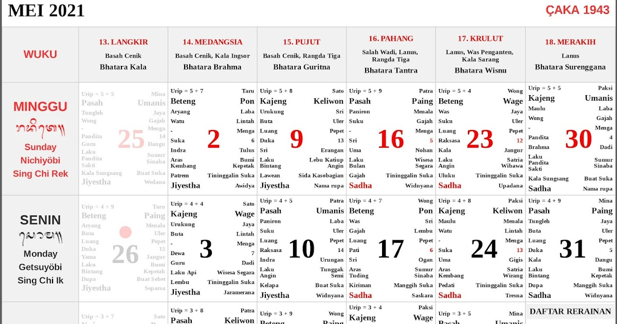 Kalender Bali Mei 2021 Lengkap PDF dan JPG - Enkosa.Com ...
