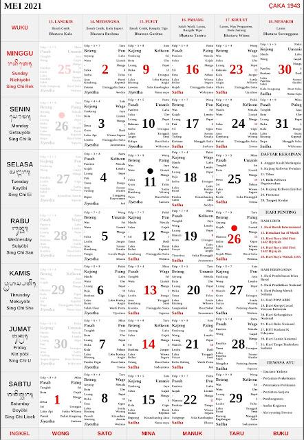 Kalender Bali Mei 2021 Lengkap PDF dan JPG