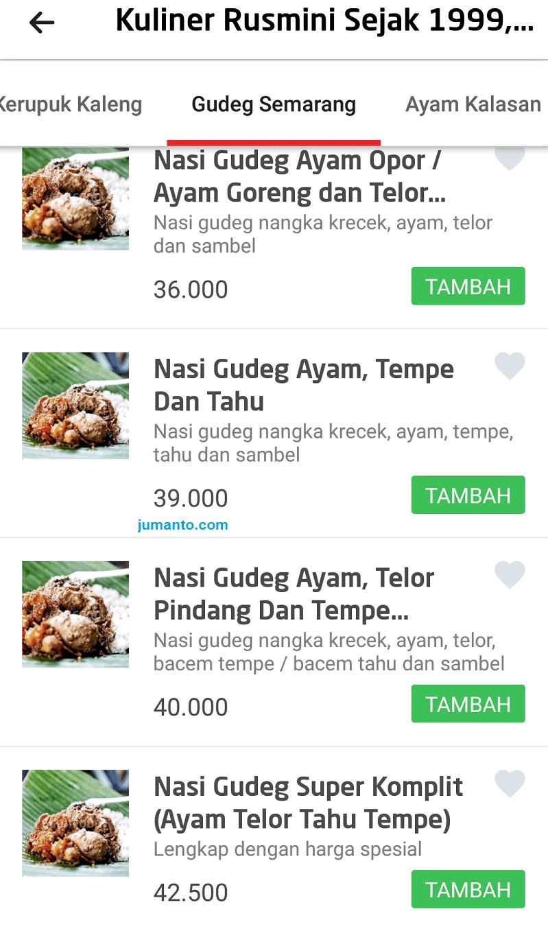 pesan gofood di jakarta nasi gudeg jogja