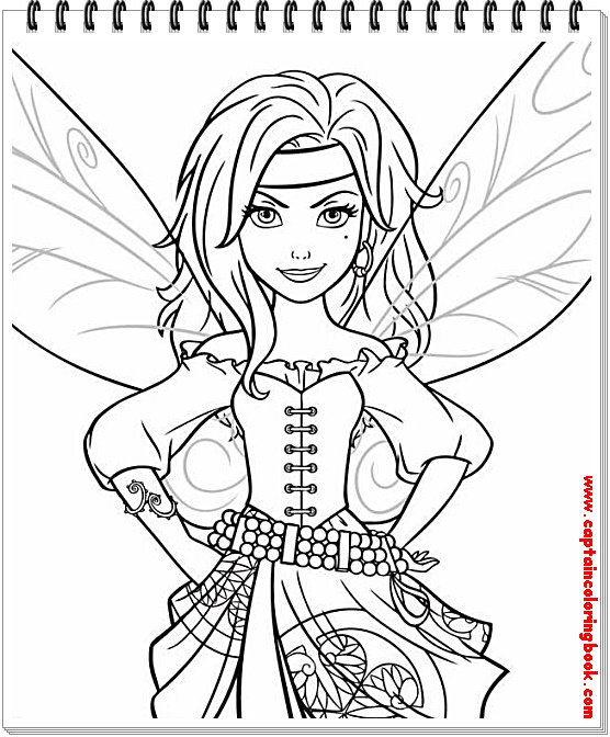 The Pirate Fairy coloring pages on Coloring-Book.info | 672x556