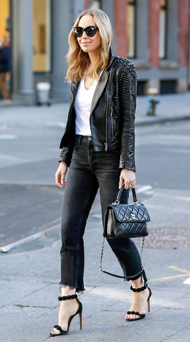 gorgeouse outfit idea for this fall : bag + jeans + heels + jacket + top