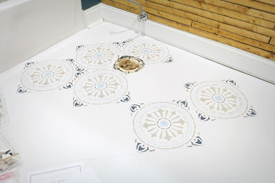ceramic floor stencil paint tile pattern