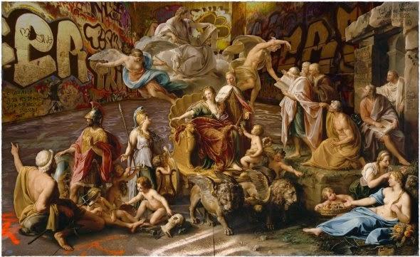 Marco Battaglini pinturas clássicas com elementos contemporâneos pichações