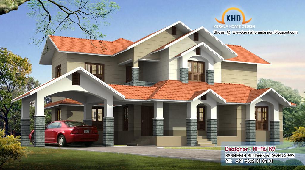 European style kerala home 3476 square feet home design for European style home builders