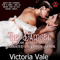 The Damsel audiobook cover. A shirtless man lies with a woman sprawled atop him, posessively caressing his face.